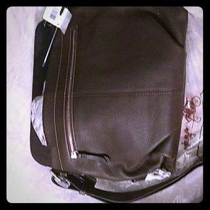 Genuine mahogany leather coach bag